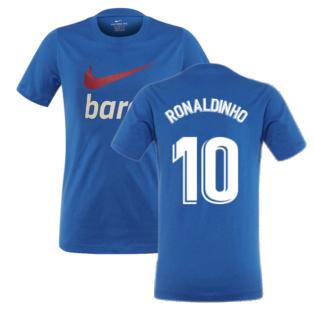 2021-2022 Barcelona Swoosh Club Tee (Blue) (RONALDINHO 10)