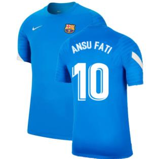 2021-2022 Barcelona Training Shirt (Blue) (ANSU FATI 10)