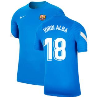 2021-2022 Barcelona Training Shirt (Blue) (JORDI ALBA 18)