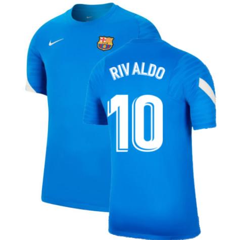 2021-2022 Barcelona Training Shirt (Blue) (RIVALDO 10)