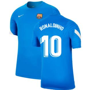 2021-2022 Barcelona Training Shirt (Blue) (RONALDINHO 10)