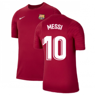 2021-2022 Barcelona Training Shirt (Noble Red) (MESSI 10)