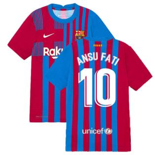2021-2022 Barcelona Vapor Match Home Shirt (Kids) (ANSU FATI 10)