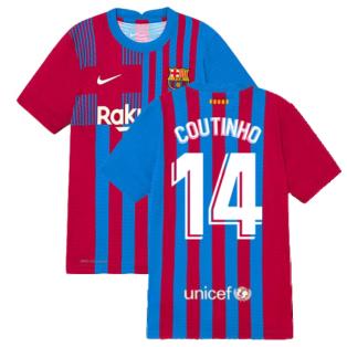 2021-2022 Barcelona Vapor Match Home Shirt (Kids) (COUTINHO 14)