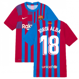 2021-2022 Barcelona Vapor Match Home Shirt (Kids) (JORDI ALBA 18)