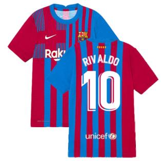 2021-2022 Barcelona Vapor Match Home Shirt (Kids) (RIVALDO 10)