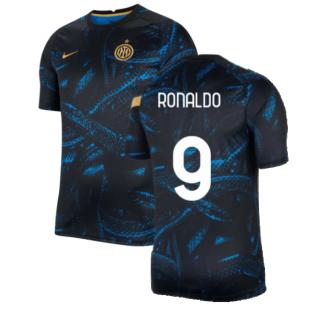 2021-2022 Inter Milan Pre-Match Training Shirt (Blue) - Kids (RONALDO 9)