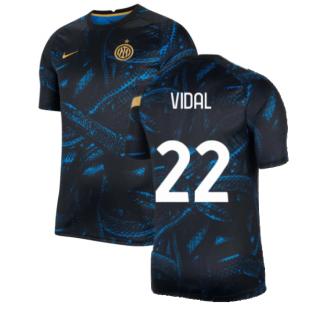 2021-2022 Inter Milan Pre-Match Training Shirt (Blue) - Kids (VIDAL 22)