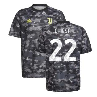 2021-2022 Juventus Pre-Match Training Shirt (Grey) (CHIESA 22)