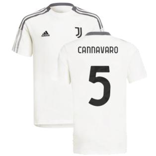 2021-2022 Juventus Training Tee (White) - Kids (CANNAVARO 5)