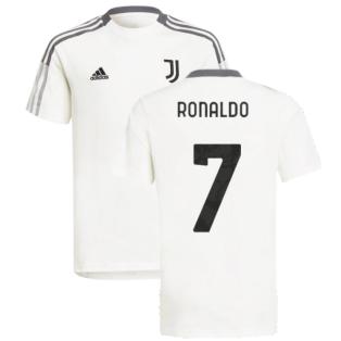 2021-2022 Juventus Training Tee (White) - Kids (RONALDO 7)