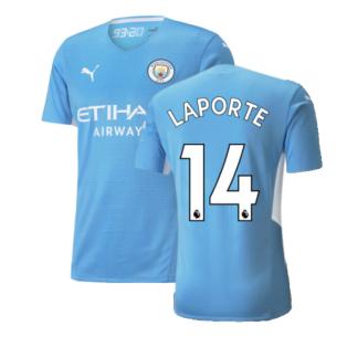 2021-2022 Man City Authentic Home Shirt (LAPORTE 14)