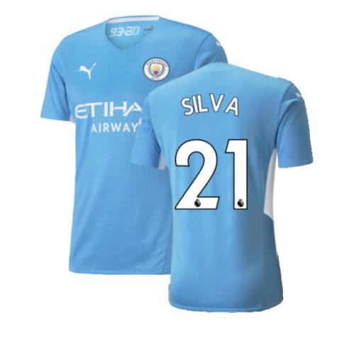 2021-2022 Man City Authentic Home Shirt (SILVA 21)