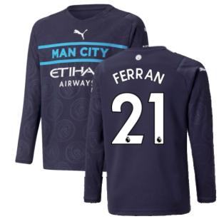 2021-2022 Man City Long Sleeve 3rd Shirt (Kids) (FERRAN 21)