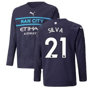 2021-2022 Man City Long Sleeve 3rd Shirt (Kids) (SILVA 21)