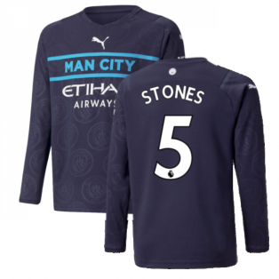 2021-2022 Man City Long Sleeve 3rd Shirt (Kids) (STONES 5)