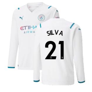 2021-2022 Man City Long Sleeve Away Shirt (Kids) (SILVA 21)