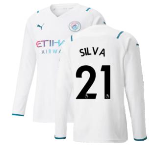 2021-2022 Man City Long Sleeve Away Shirt (SILVA 21)
