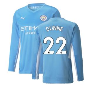 2021-2022 Man City Long Sleeve Home Shirt (DUNNE 22)