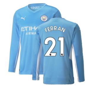 2021-2022 Man City Long Sleeve Home Shirt (FERRAN 21)