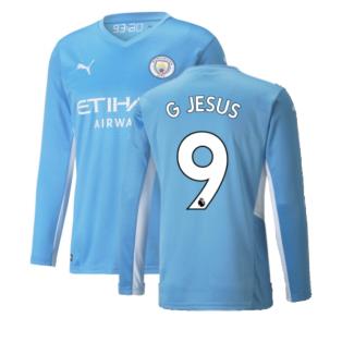 2021-2022 Man City Long Sleeve Home Shirt (G JESUS 9)
