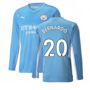 2021-2022 Man City Long Sleeve Home Shirt (Kids) (BERNARDO 20)