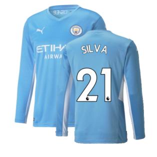 2021-2022 Man City Long Sleeve Home Shirt (Kids) (SILVA 21)