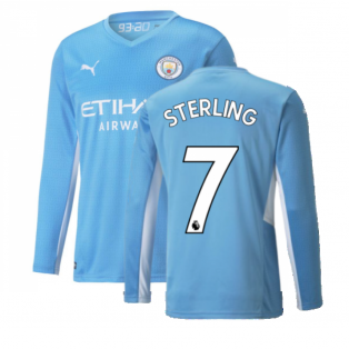 2021-2022 Man City Long Sleeve Home Shirt (Kids) (STERLING 7)