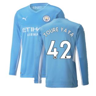 2021-2022 Man City Long Sleeve Home Shirt (Kids) (TOURE YAYA 42)