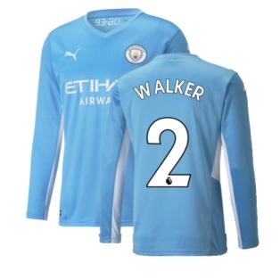 2021-2022 Man City Long Sleeve Home Shirt (Kids) (WALKER 2)