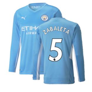 2021-2022 Man City Long Sleeve Home Shirt (Kids) (ZABALETA 5)