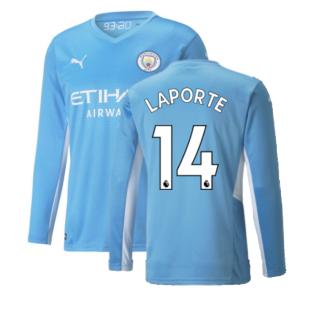 2021-2022 Man City Long Sleeve Home Shirt (LAPORTE 14)