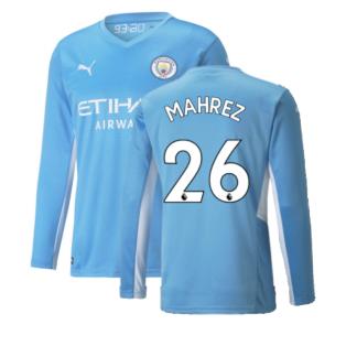 2021-2022 Man City Long Sleeve Home Shirt (MAHREZ 26)