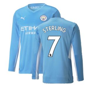 2021-2022 Man City Long Sleeve Home Shirt (STERLING 7)