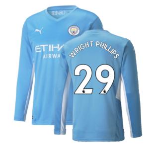2021-2022 Man City Long Sleeve Home Shirt (WRIGHT PHILLIPS 29)
