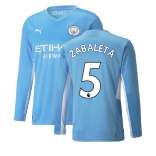 2021-2022 Man City Long Sleeve Home Shirt (ZABALETA 5)