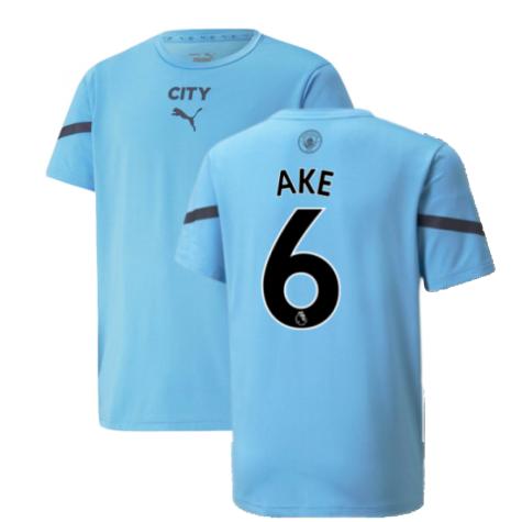 2021-2022 Man City Pre Match Jersey (Light Blue) (AKE 6)