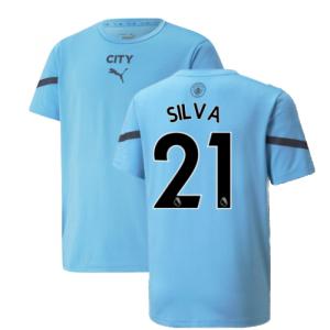 2021-2022 Man City Pre Match Jersey (Light Blue) (SILVA 21)