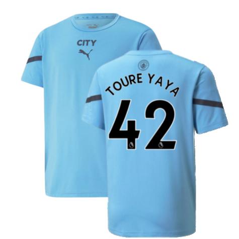 2021-2022 Man City Pre Match Jersey (Light Blue) (TOURE YAYA 42)