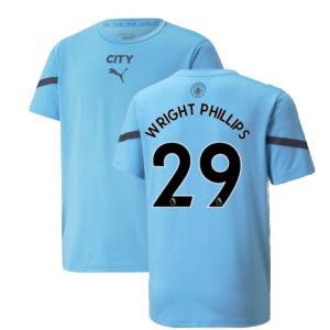 2021-2022 Man City Pre Match Jersey (Light Blue) (WRIGHT PHILLIPS 29)