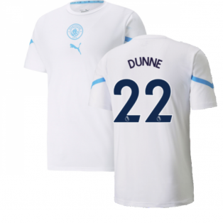 2021-2022 Man City Pre Match Jersey (White) (DUNNE 22)