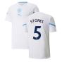 2021-2022 Man City Pre Match Jersey (White) - Kids (STONES 5)