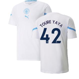 2021-2022 Man City Pre Match Jersey (White) (TOURE YAYA 42)