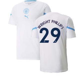 2021-2022 Man City Pre Match Jersey (White) (WRIGHT PHILLIPS 29)