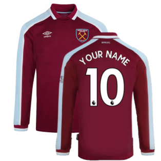 2021-2022 West Ham Long Sleeve Home Shirt (Kids) (Your Name)