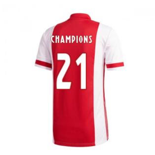 2020-2021 Ajax Adidas Home Football Shirt (Champions 21)