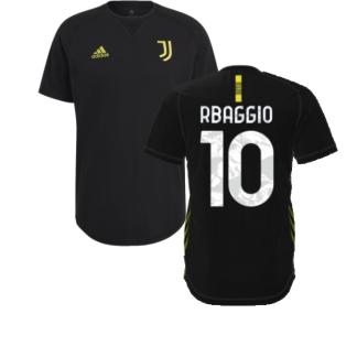 2021-2022 Juventus Travel Tee (Black) (R BAGGIO 10)