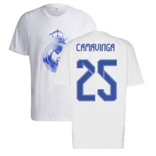Real Madrid 2021-2022 Training Tee (White-Blue) (CAMAVINGA 25)