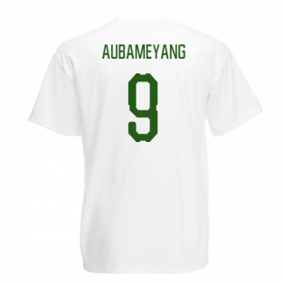 Gabon Core Football Country T-Shirt (White) (Aubameyang 9)