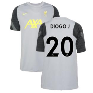 Liverpool 2021-2022 CL Training Shirt (Wolf Grey) - Kids (DIOGO J 20)